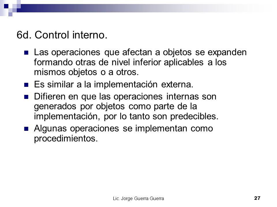 Lic. Jorge Guerra Guerra27 6d. Control interno. Las operaciones que afectan a objetos se expanden formando otras de nivel inferior aplicables a los mi