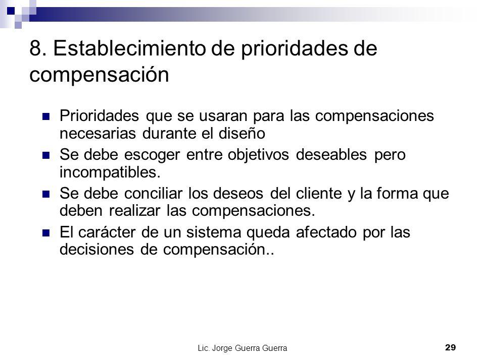 Lic. Jorge Guerra Guerra29 8. Establecimiento de prioridades de compensación Prioridades que se usaran para las compensaciones necesarias durante el d