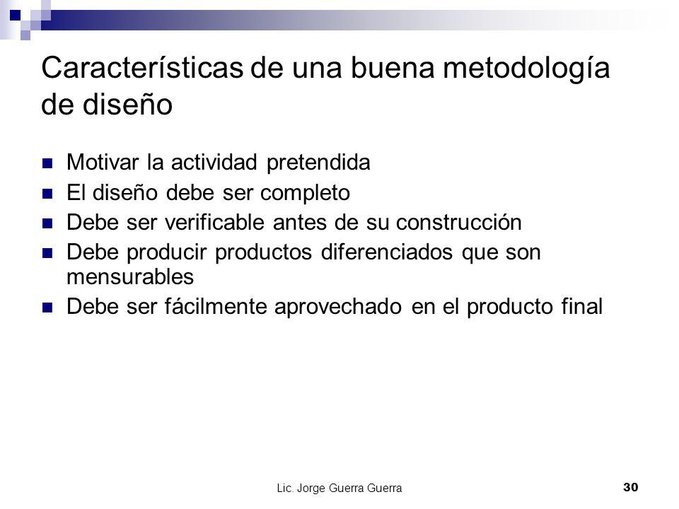 Lic. Jorge Guerra Guerra30 Características de una buena metodología de diseño Motivar la actividad pretendida El diseño debe ser completo Debe ser ver