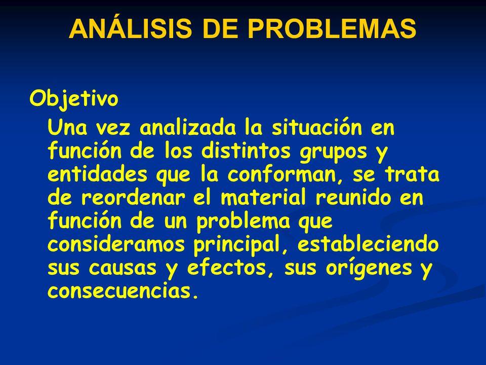 ANÁLISIS DE PROBLEMAS Objetivo Una vez analizada la situación en función de los distintos grupos y entidades que la conforman, se trata de reordenar e