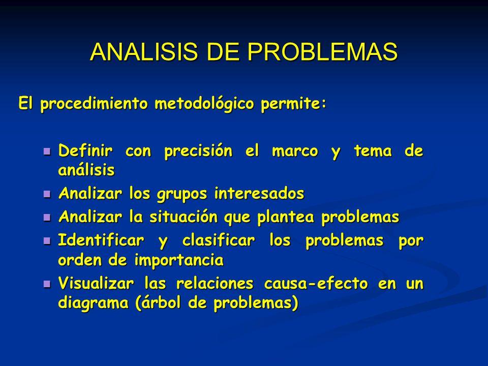 ANALISIS DE PROBLEMAS El procedimiento metodológico permite: Definir con precisión el marco y tema de análisis Definir con precisión el marco y tema d