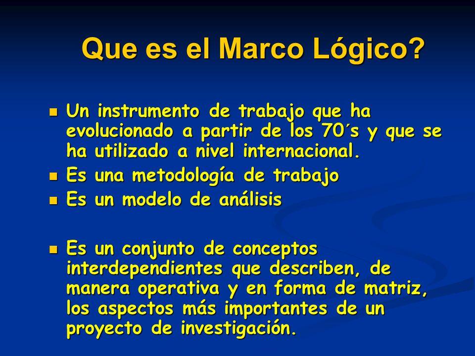 Que es el Marco Lógico? Un instrumento de trabajo que ha evolucionado a partir de los 70´s y que se ha utilizado a nivel internacional. Un instrumento