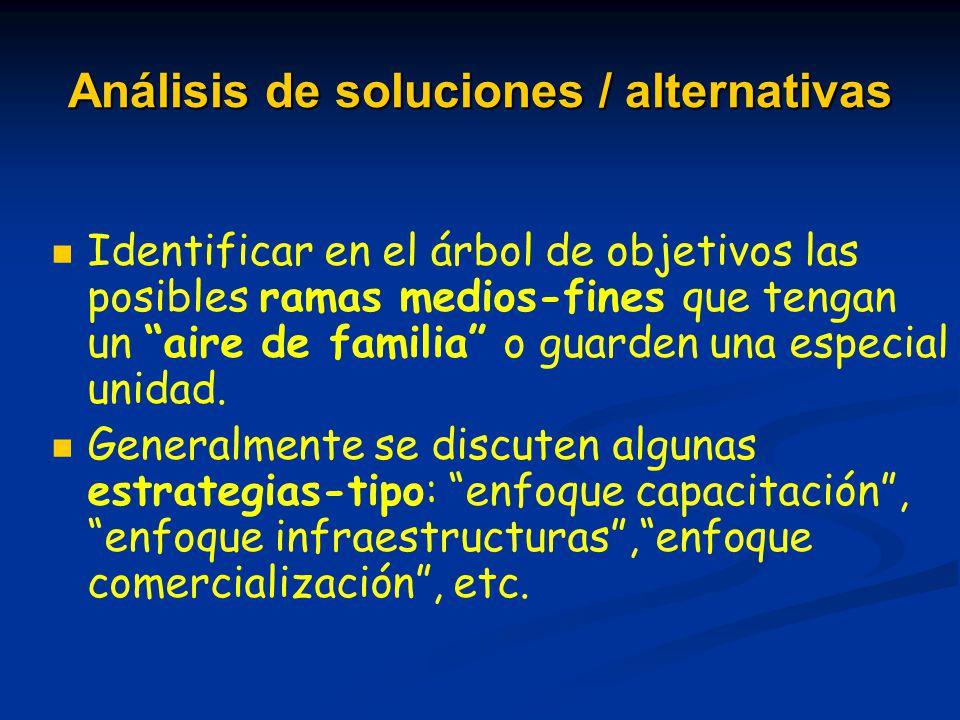 Análisis de soluciones / alternativas Identificar en el árbol de objetivos las posibles ramas medios-fines que tengan un aire de familia o guarden una