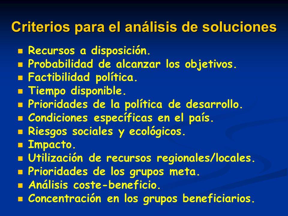 Criterios para el análisis de soluciones Recursos a disposición. Probabilidad de alcanzar los objetivos. Factibilidad política. Tiempo disponible. Pri