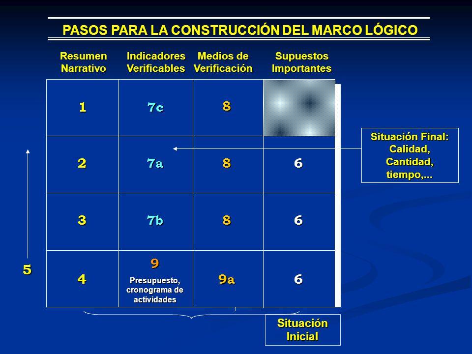 PASOS PARA LA CONSTRUCCIÓN DEL MARCO LÓGICO Resumen Narrativo Indicadores Verificables Medios de Verificación Supuestos Importantes 1 7c 8 27a86 37b86