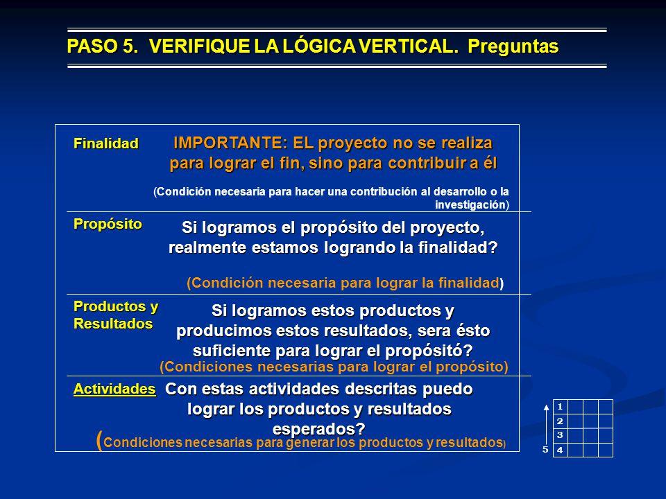 3 2 1 4 5 (Condición necesaria para hacer una contribución al desarrollo o la investigación) Finalidad Propósito Productos y Resultados Actividades (C