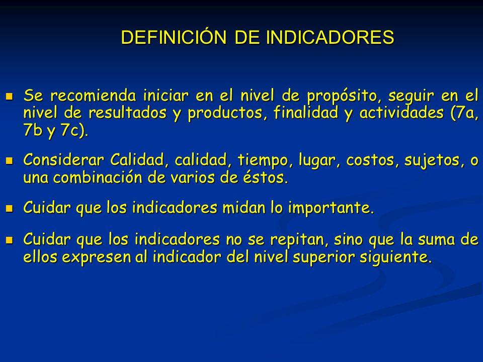 DEFINICIÓN DE INDICADORES Se recomienda iniciar en el nivel de propósito, seguir en el nivel de resultados y productos, finalidad y actividades (7a, 7