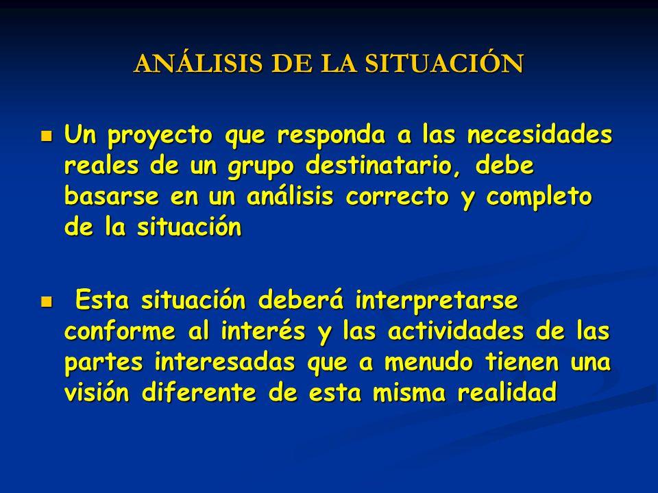ANÁLISIS DE LA SITUACIÓN Un proyecto que responda a las necesidades reales de un grupo destinatario, debe basarse en un análisis correcto y completo d