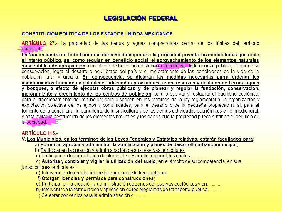 LEGISLACIÓN FEDERAL CONSTITUCIÓN POLÍTICA DE LOS ESTADOS UNIDOS MEXICANOS ARTÍCULO 27.- La propiedad de las tierras y aguas comprendidas dentro de los