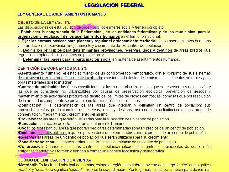 LEGISLACIÓN FEDERAL LEY GENERAL DE ASENTAMIENTOS HUMANOS OBJETO DE LA LEY (Art. 1º): Las disposiciones de esta Ley son de orden público e interés soci