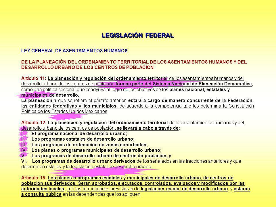 LEGISLACIÓN FEDERAL LEY GENERAL DE ASENTAMIENTOS HUMANOS DE LA PLANEACIÓN DEL ORDENAMIENTO TERRITORIAL DE LOS ASENTAMIENTOS HUMANOS Y DEL DESARROLLO U