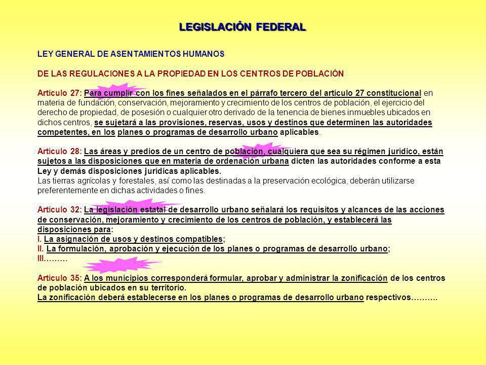 LEGISLACIÓN FEDERAL LEY GENERAL DE ASENTAMIENTOS HUMANOS DE LAS REGULACIONES A LA PROPIEDAD EN LOS CENTROS DE POBLACIÓN Artículo 27: Para cumplir con