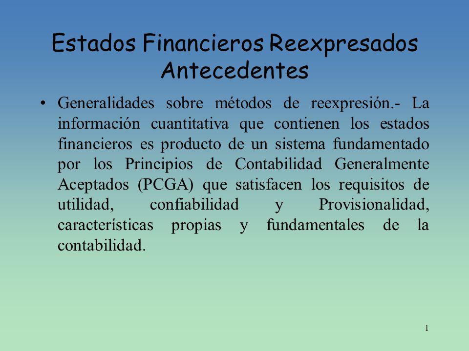 1 Estados Financieros Reexpresados Antecedentes Generalidades sobre métodos de reexpresión.- La información cuantitativa que contienen los estados fin