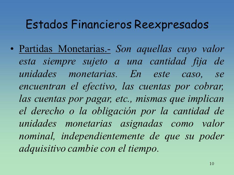 10 Estados Financieros Reexpresados Partidas Monetarias.- Son aquellas cuyo valor esta siempre sujeto a una cantidad fija de unidades monetarias. En e