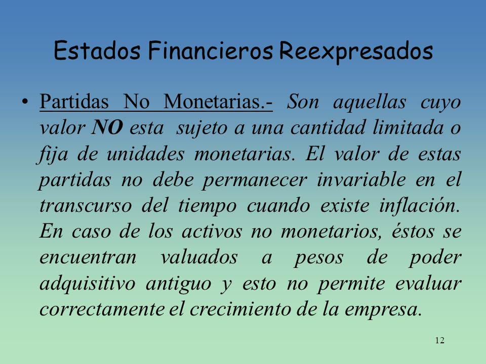 12 Estados Financieros Reexpresados Partidas No Monetarias.- Son aquellas cuyo valor NO esta sujeto a una cantidad limitada o fija de unidades monetar