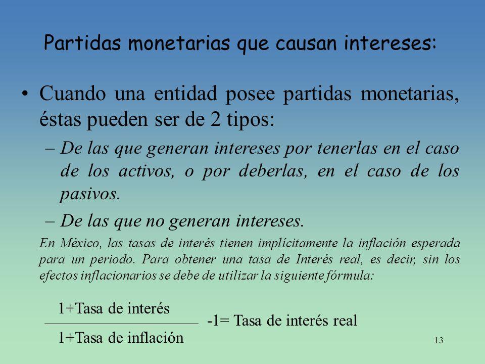 13 Partidas monetarias que causan intereses: Cuando una entidad posee partidas monetarias, éstas pueden ser de 2 tipos: –De las que generan intereses