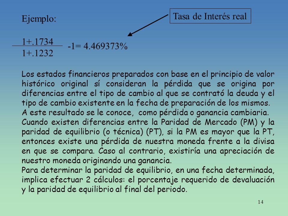 14 Ejemplo: 1+.1734 1+.1232 -1= 4.469373% Los estados financieros preparados con base en el principio de valor histórico original sí consideran la pér