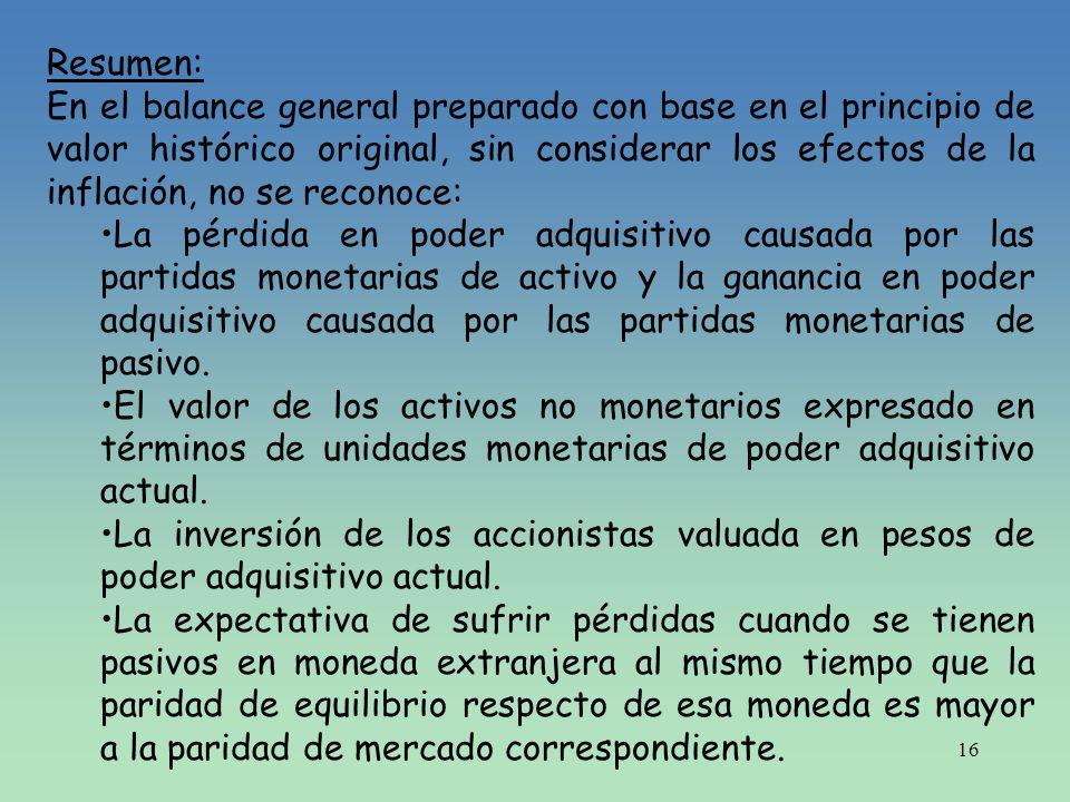 16 Resumen: En el balance general preparado con base en el principio de valor histórico original, sin considerar los efectos de la inflación, no se re