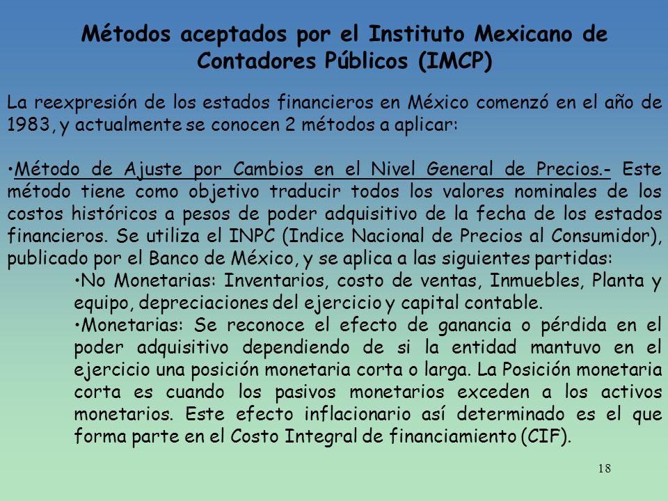 18 Métodos aceptados por el Instituto Mexicano de Contadores Públicos (IMCP) La reexpresión de los estados financieros en México comenzó en el año de