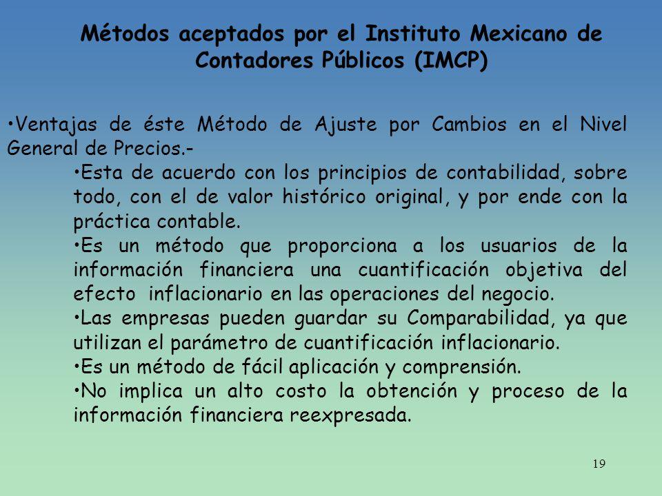 19 Métodos aceptados por el Instituto Mexicano de Contadores Públicos (IMCP) Ventajas de éste Método de Ajuste por Cambios en el Nivel General de Prec