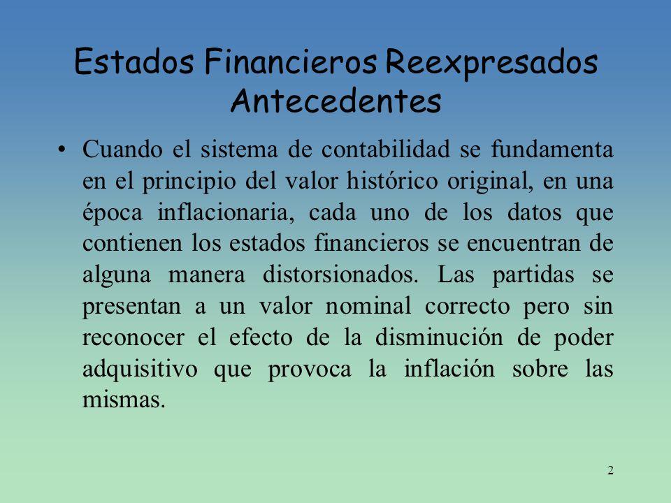 2 Estados Financieros Reexpresados Antecedentes Cuando el sistema de contabilidad se fundamenta en el principio del valor histórico original, en una é