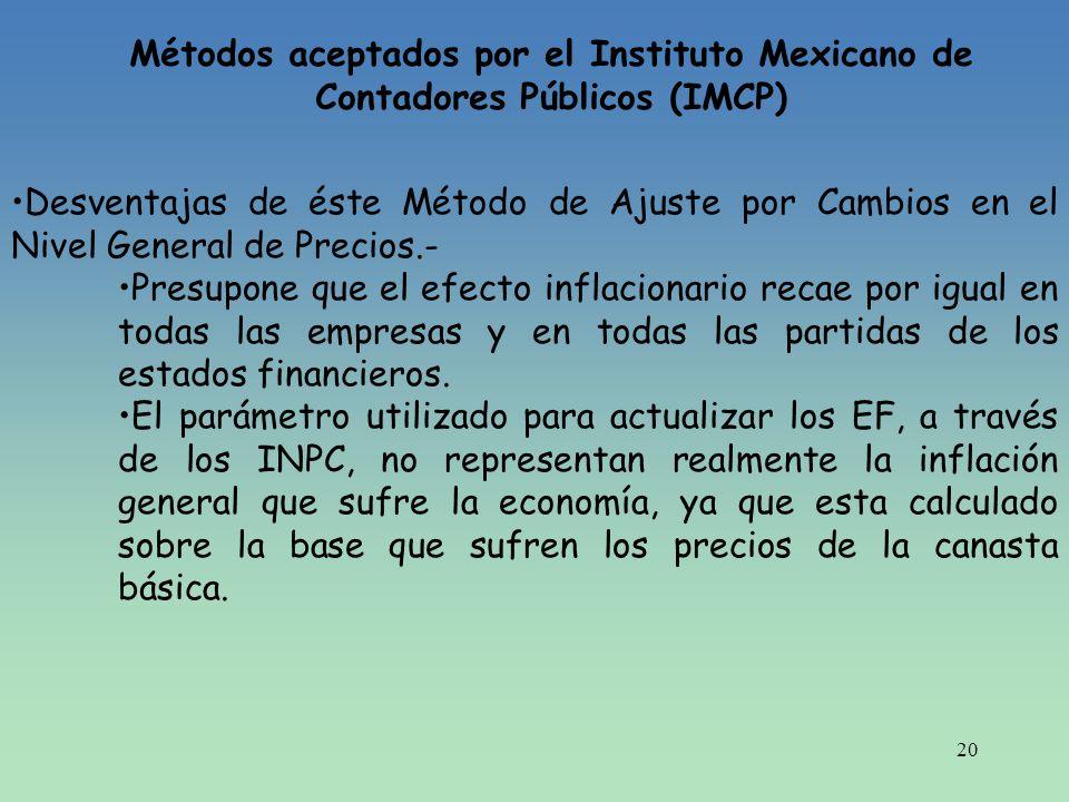 20 Métodos aceptados por el Instituto Mexicano de Contadores Públicos (IMCP) Desventajas de éste Método de Ajuste por Cambios en el Nivel General de P