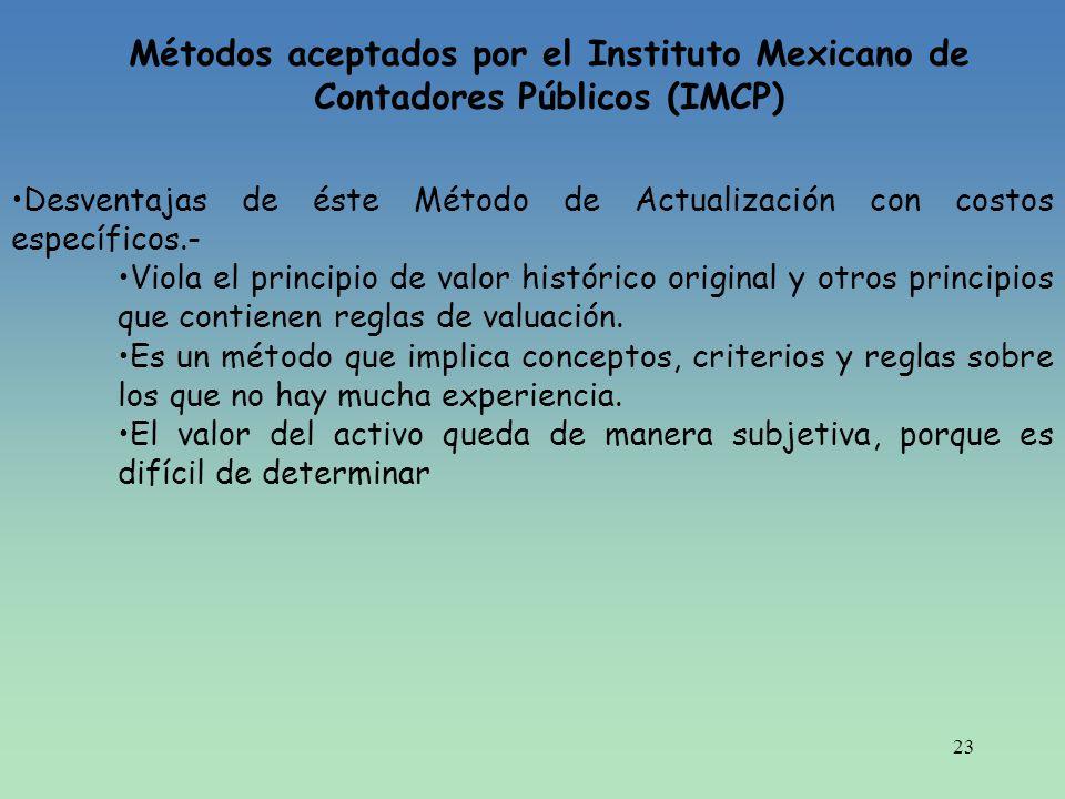 23 Métodos aceptados por el Instituto Mexicano de Contadores Públicos (IMCP) Desventajas de éste Método de Actualización con costos específicos.- Viol