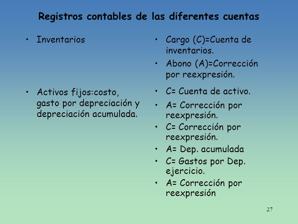 27 Registros contables de las diferentes cuentas Inventarios Activos fijos:costo, gasto por depreciación y depreciación acumulada. Cargo (C)=Cuenta de