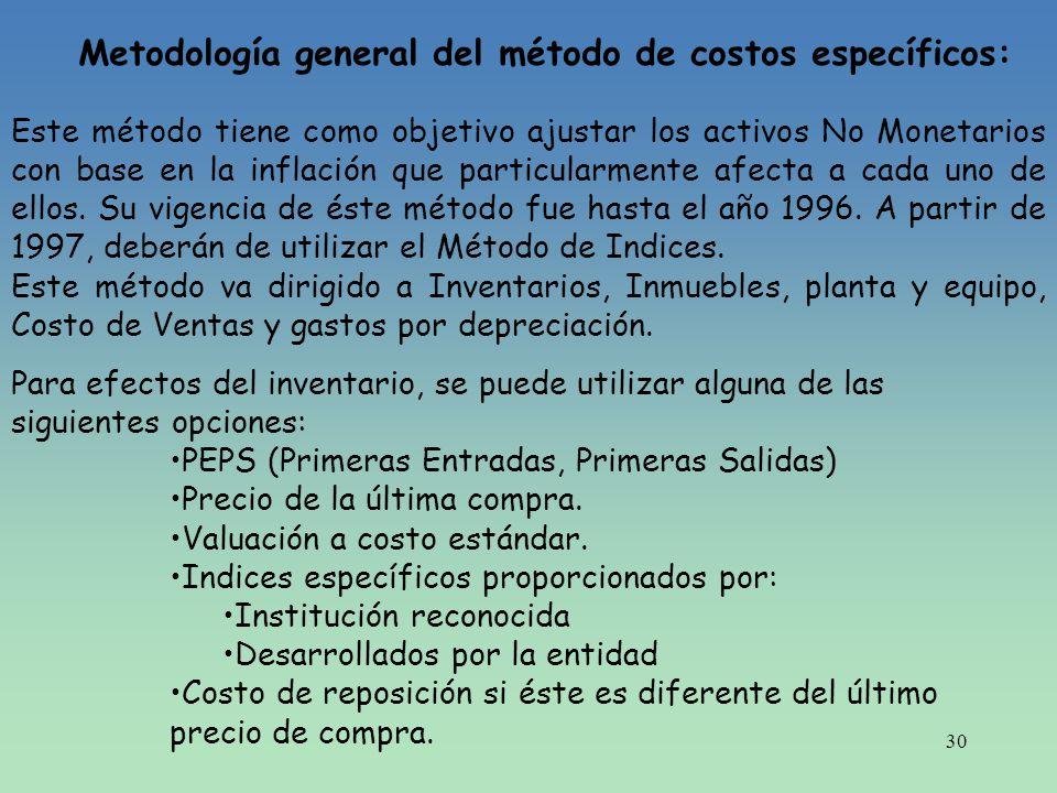 30 Metodología general del método de costos específicos: Este método tiene como objetivo ajustar los activos No Monetarios con base en la inflación qu