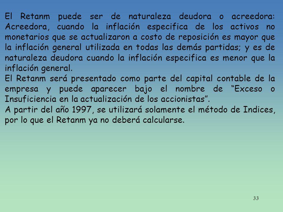 33 El Retanm puede ser de naturaleza deudora o acreedora: Acreedora, cuando la inflación especifica de los activos no monetarios que se actualizaron a