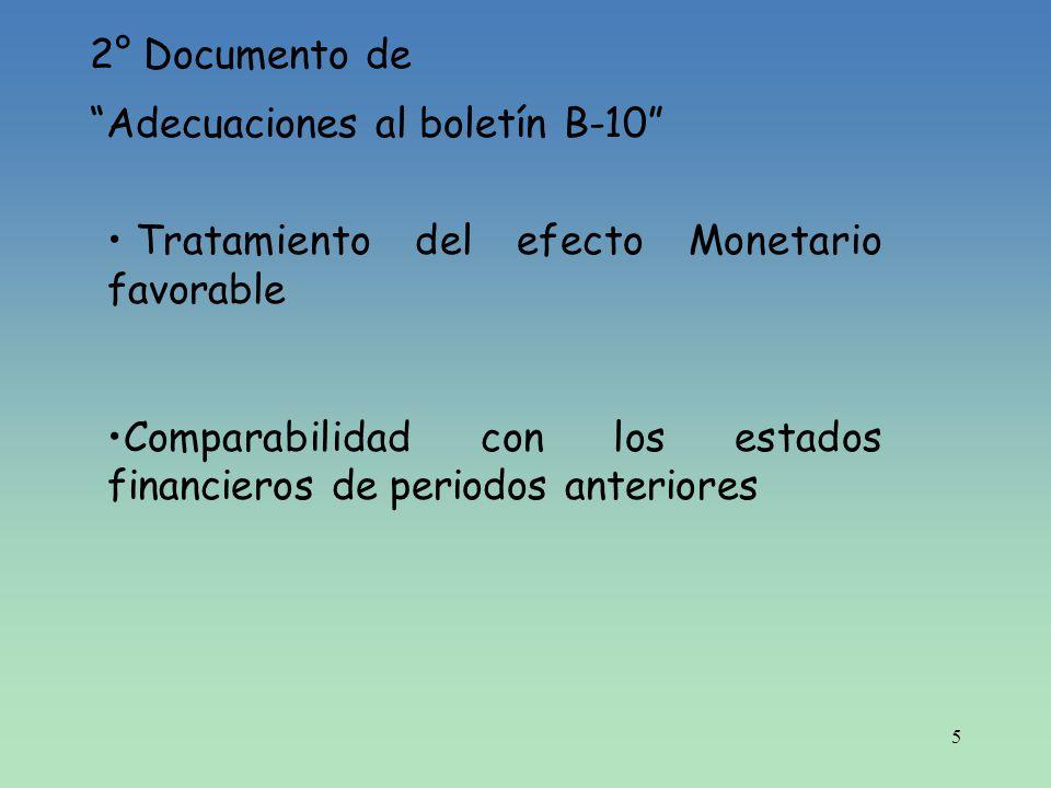 5 2° Documento de Adecuaciones al boletín B-10 Tratamiento del efecto Monetario favorable Comparabilidad con los estados financieros de periodos anter