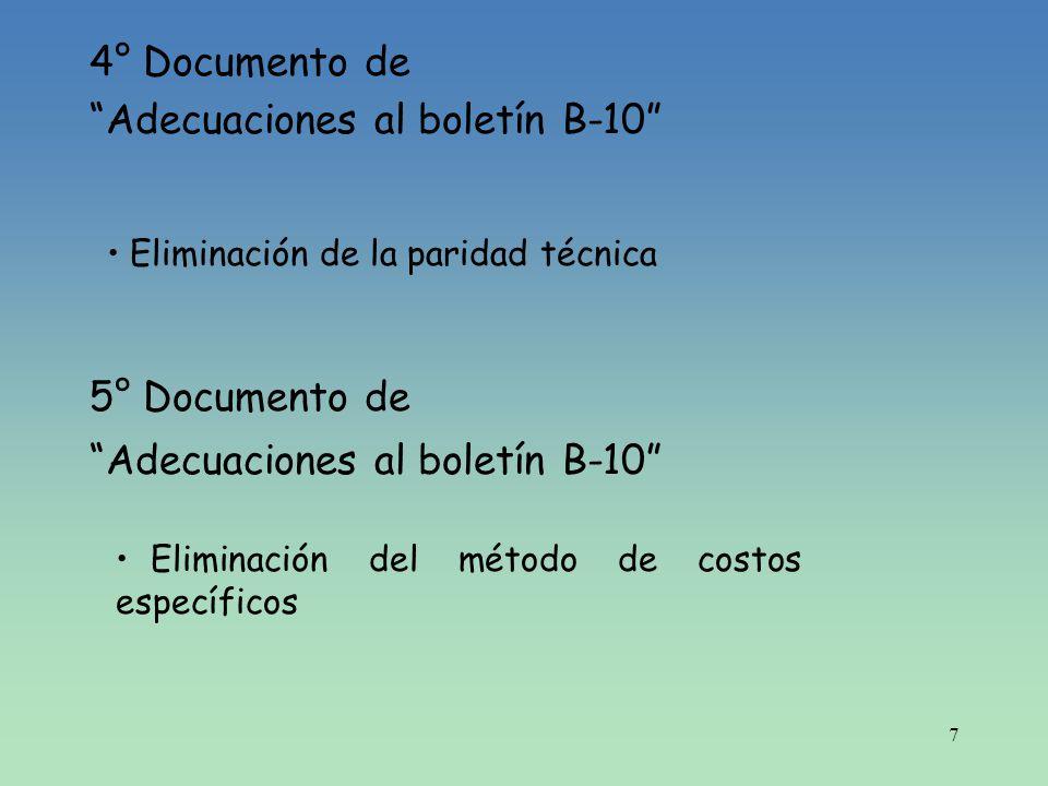 8 5° Documento de Adecuaciones al boletín B-10 (Modificado) Costos específicos para inventarios Indización especifica de ciertos activos fijos adquiridos en moneda extranjera (activos de procedencia extranjera).
