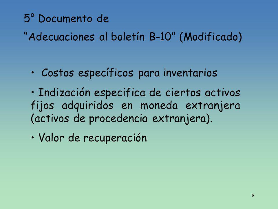 8 5° Documento de Adecuaciones al boletín B-10 (Modificado) Costos específicos para inventarios Indización especifica de ciertos activos fijos adquiri