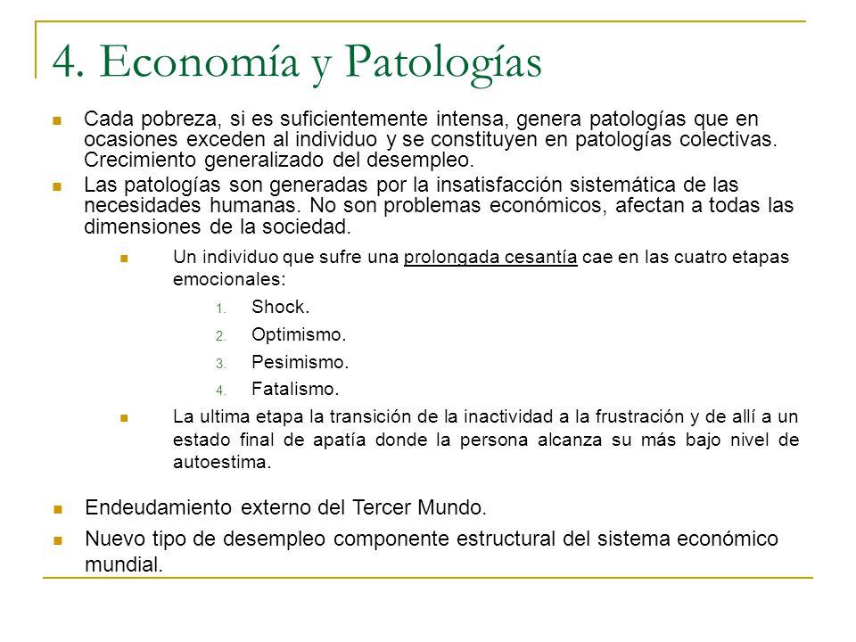 4. Economía y Patologías Cada pobreza, si es suficientemente intensa, genera patologías que en ocasiones exceden al individuo y se constituyen en pato