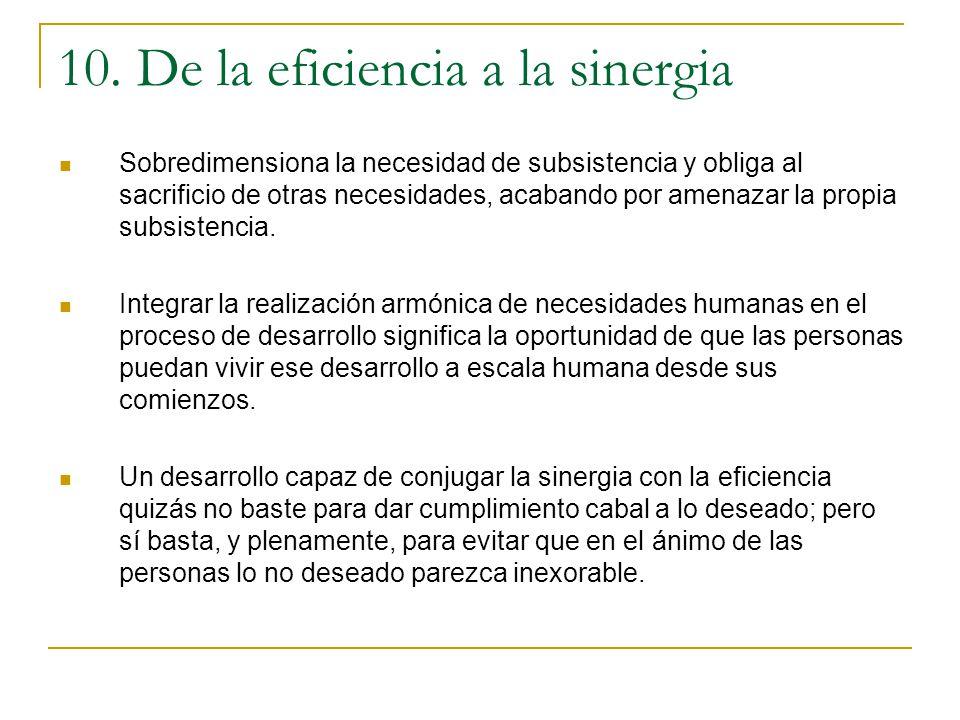 10. De la eficiencia a la sinergia Sobredimensiona la necesidad de subsistencia y obliga al sacrificio de otras necesidades, acabando por amenazar la