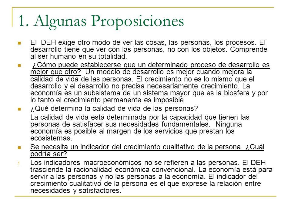 1. Algunas Proposiciones El DEH exige otro modo de ver las cosas, las personas, los procesos. El desarrollo tiene que ver con las personas, no con los