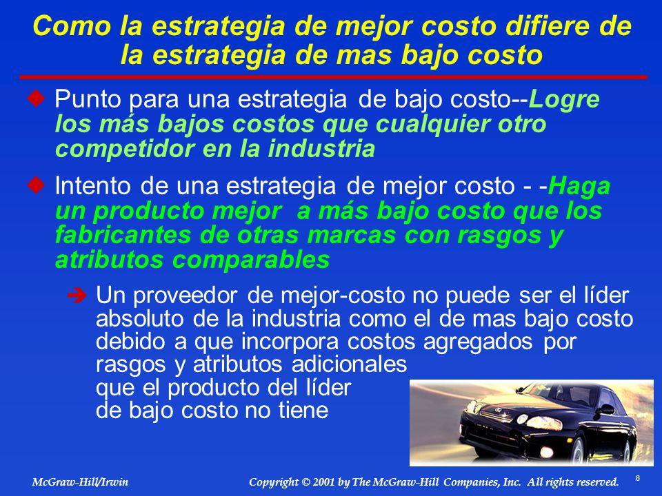 8 © 2001 by The McGraw-Hill Companies, Inc. All rights reserved. McGraw-Hill/Irwin Copyright Como la estrategia de mejor costo difiere de la estrategi