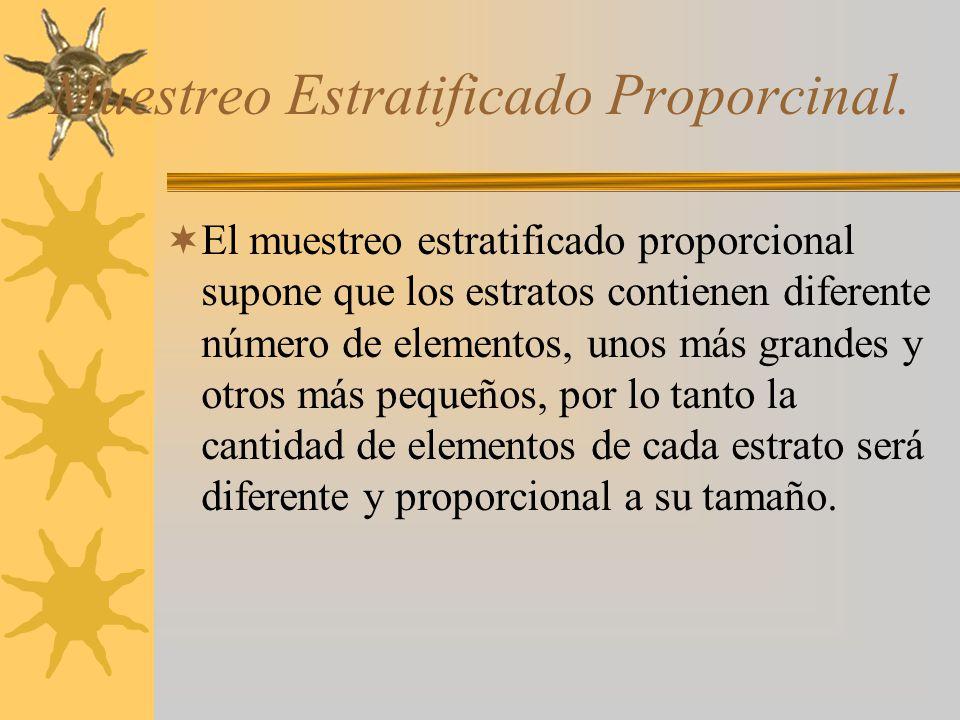 Muestreo Estratificado Proporcinal. El muestreo estratificado proporcional supone que los estratos contienen diferente número de elementos, unos más g