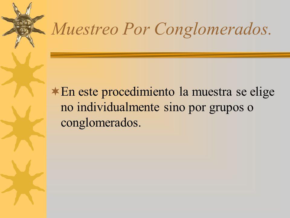 Muestreo Por Conglomerados. En este procedimiento la muestra se elige no individualmente sino por grupos o conglomerados.