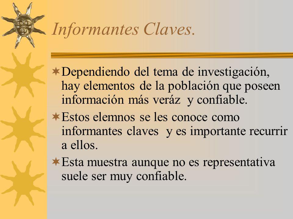 Informantes Claves. Dependiendo del tema de investigación, hay elementos de la población que poseen información más veráz y confiable. Estos elemnos s