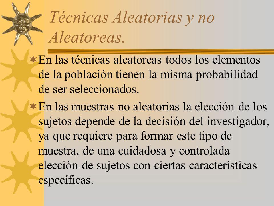 Técnicas Aleatorias y no Aleatoreas. En las técnicas aleatoreas todos los elementos de la población tienen la misma probabilidad de ser seleccionados.