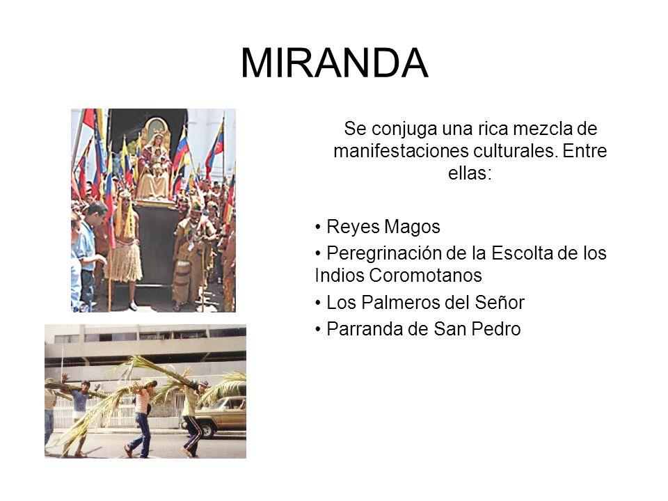 MIRANDA Se conjuga una rica mezcla de manifestaciones culturales. Entre ellas: Reyes Magos Peregrinación de la Escolta de los Indios Coromotanos Los P
