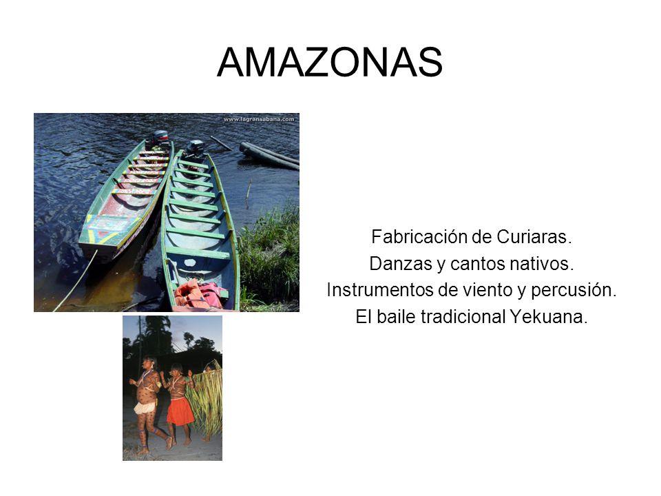 AMAZONAS Fabricación de Curiaras. Danzas y cantos nativos. Instrumentos de viento y percusión. El baile tradicional Yekuana.