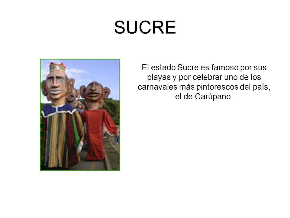 SUCRE El estado Sucre es famoso por sus playas y por celebrar uno de los carnavales más pintorescos del país, el de Carúpano.