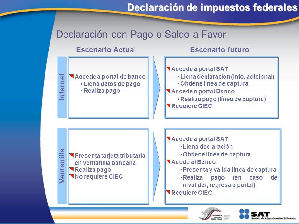 Internet Escenario ActualEscenario futuro Accede a portal SAT Llena declaración (info. adicional) Obtiene línea de captura Accede a portal Banco Reali