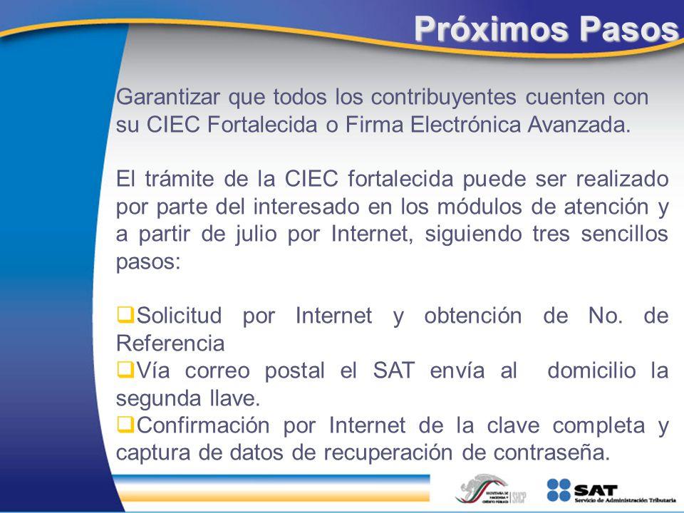 Próximos Pasos Garantizar que todos los contribuyentes cuenten con su CIEC Fortalecida o Firma Electrónica Avanzada. El trámite de la CIEC fortalecida