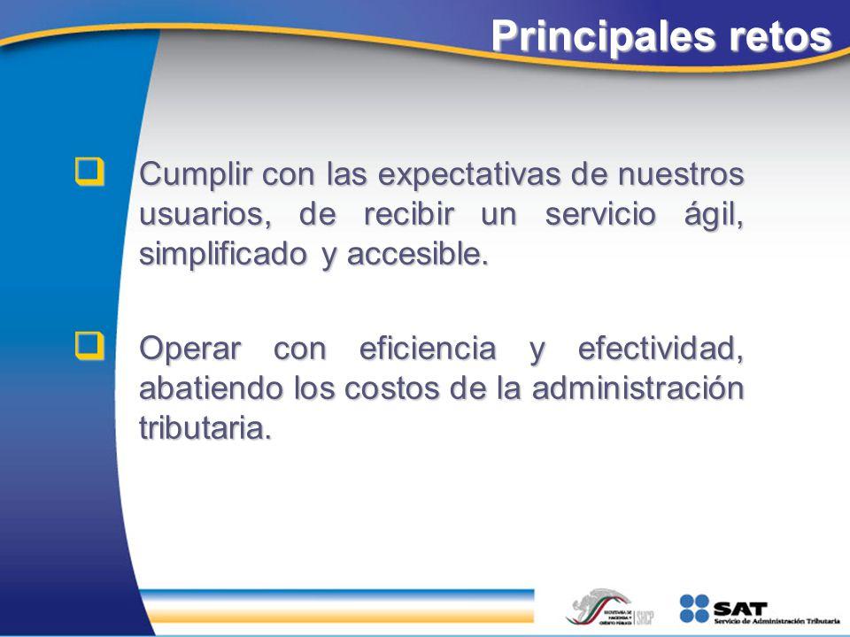 Principales retos Cumplir con las expectativas de nuestros usuarios, de recibir un servicio ágil, simplificado y accesible. Cumplir con las expectativ