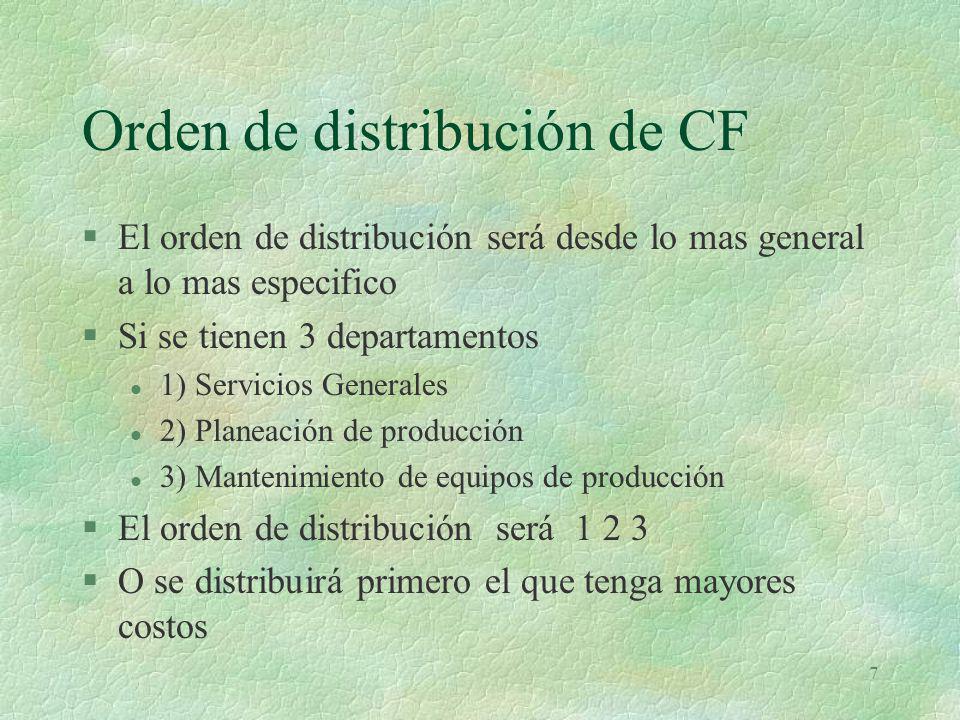 8 Bases de distribución §Se selecciona una base razonable §a) Se determina una tasa de distribución en cada depto dividiendo el costo acumulado entre la base (m, M 3, HH, M 2) excluyendo los datos del depto.