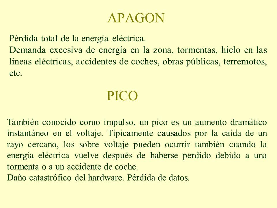 APAGON Pérdida total de la energía eléctrica. Demanda excesiva de energía en la zona, tormentas, hielo en las líneas eléctricas, accidentes de coches,