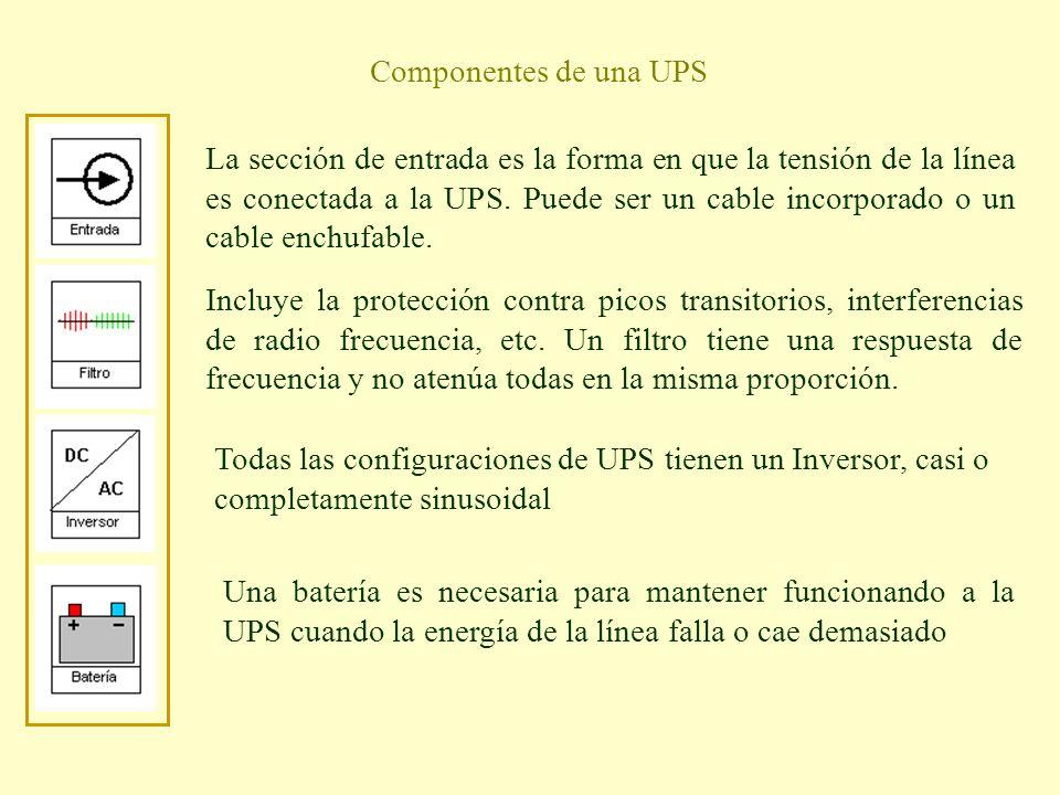 Componentes de una UPS La sección de entrada es la forma en que la tensión de la línea es conectada a la UPS. Puede ser un cable incorporado o un cabl